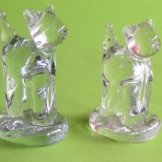 FRUMOASE DOUA PISICI LUCRATE MANUAL DIN STICLA - Figurina/statueta