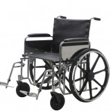 Scaun cu rotile - Carucior handicap otel cromat pentru persoane supraponderale 200 Kg Ortomobil 04010B-51