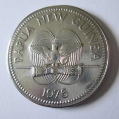 RARA! MONEDA ARGINT 925 PAPUA NEW GUINEA 10 KINA 1976, DIAMETRUL=45, GREUTATE=42, Australia si Oceania