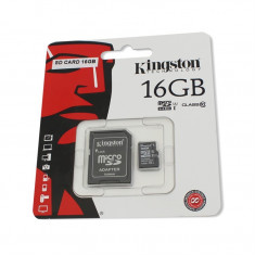 Card de memorie Kingston microSDHC 16GB Class 10 + Adaptor - Card Micro SD