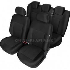 Set huse scaun model Poseidon Negru pentru Dacia Logan, set huse auto Fata + Spate - Husa Auto