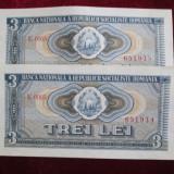 3 lei 1966,serii consecutive: 2 bucati-aunc