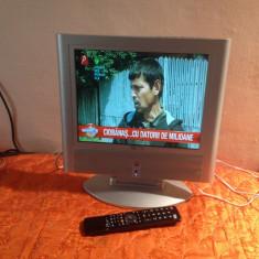 Televizor LCD, Sub 19 inchi, Intrare RF, VGA - TV LCD 17 INCH KEYMAT ALIMENTARE 12V AUTO + TELECOMANDA NOUA