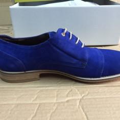 Pantofi PIELE NATURALA ROBERTO MORRESI marime 46 albastru - Pantofi barbati