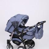 Carucior copii 3 in 1 Baby-Merc Junior Plus (blue jeans), Pliabil, Gri, Maner reversibil