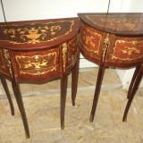 Set de 2 superbe comodine stil impecabile intarsiate cu elemente din bronz - Mobilier