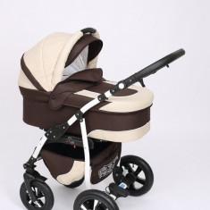 Carucior copii 3 in 1 Baby-Merc Q9 (maro cu bej), Pliabil, Gri, Maner reversibil