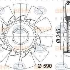 Paleta ventilator, racire motor RENAULT TRUCKS Midlum 160.08 - HELLA 8MV 376 757-761 - Ventilatoare auto