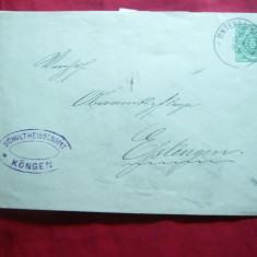 Plic circ. marca fixa 5 pf.verde Wurtemberg 1893, stamp. Schultheissenamt Kongen