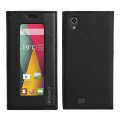 Husa de protectie din piele ecologica Discovery, fereastra verticala, interior silicon, pentru Allview V1 Viper E (Culoare: Negru) - Husa Telefon