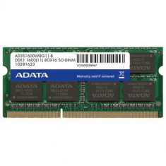 A-Data 4GB DDR3 SO-DIMM, 1600MHz, BULK - Memorie RAM laptop