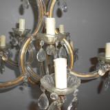 Candelabru cu brate si cristale, lampa de tavan, frumoasa si originala.