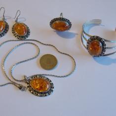 Set de argint cu chihlimbar -1 - Set bijuterii argint