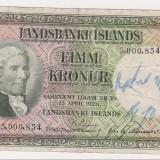 ISLANDA 5 Kronur 1928 F - bancnota europa