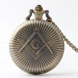 Ceas de buzunar tip masonic cu medalion - Ceas barbatesc, Casual, Quartz, Otel, Analog, Nou