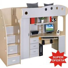 Dormitor multifunctional - pat supraetajat, birou si dulap copii - Set mobila dormitor
