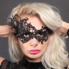 Masca Carnaval Foreplay Adult Venetiana Neagra Black Dantela Halloween, Marime: Marime universala, Culoare: Negru