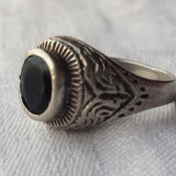 Inel argint cu Onix fatetat Vechi executat si gravat manual stil oriental masiv