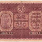 SV * Italia 1 UNA LIRA 1918 sub ocupatie Austria WWI F++/-VF - bancnota europa