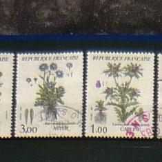 Lot Serie 4 timbre uzate PLANTE MEDICINALE FLORI Franta 2+1 gratis RBK20176