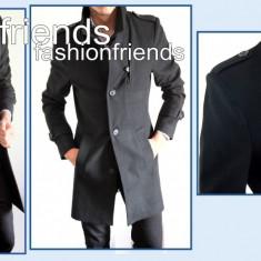 Palton tip ZARA negru - palton barbati - palton slim fit - cod 2214, Marime: S, M, L, XL, XXL, Culoare: Din imagine