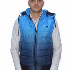 Vesta de fas cu gluga albastra-barbati-tip ZARA -Slim Fit- Fashion - Vesta barbati, Marime: XL, Culoare: Albastru, Bumbac