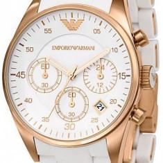 Ceas EMPORIO ARMANI alb, Cronograph, ceas de dama - Ceas dama Armani, Fashion, Quartz, Inox, Cronograf, Analog