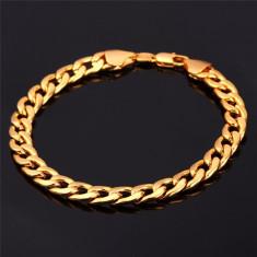 Bratara Premium Unisex Placata Aur 18k Barbati si Femei - Bratara aur, Culoare Aur: Galben