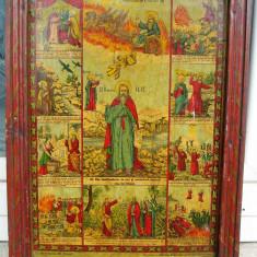 Icoana litografie pe lemn anii 1900 Sfantul Ilie - Icoana litografiate