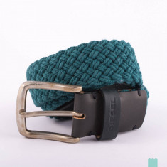 Curea textila/piele DIESEL BIRAFFIA marime 100 cm, verde inchis *Made in Italy* - Curea Barbati Diesel, curea si catarama