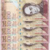VENEZUELA lot 5 buc. X 100 bolivares 2015 UNC!!! - SERII CONSECUTIVE - bancnota america