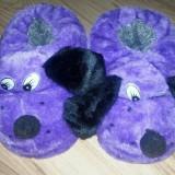 Papuci de casa in forma de catel - sosoni (marime 31) ER122 - Papuci copii, Culoare: Mov