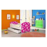 Pat Junior 160 x 80 cm cu saltea si sertar Pink Daisy Acma - Patut lemn pentru bebelusi