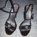 Sandale elegante din piele maro marime 37- 38 - Sandale dama